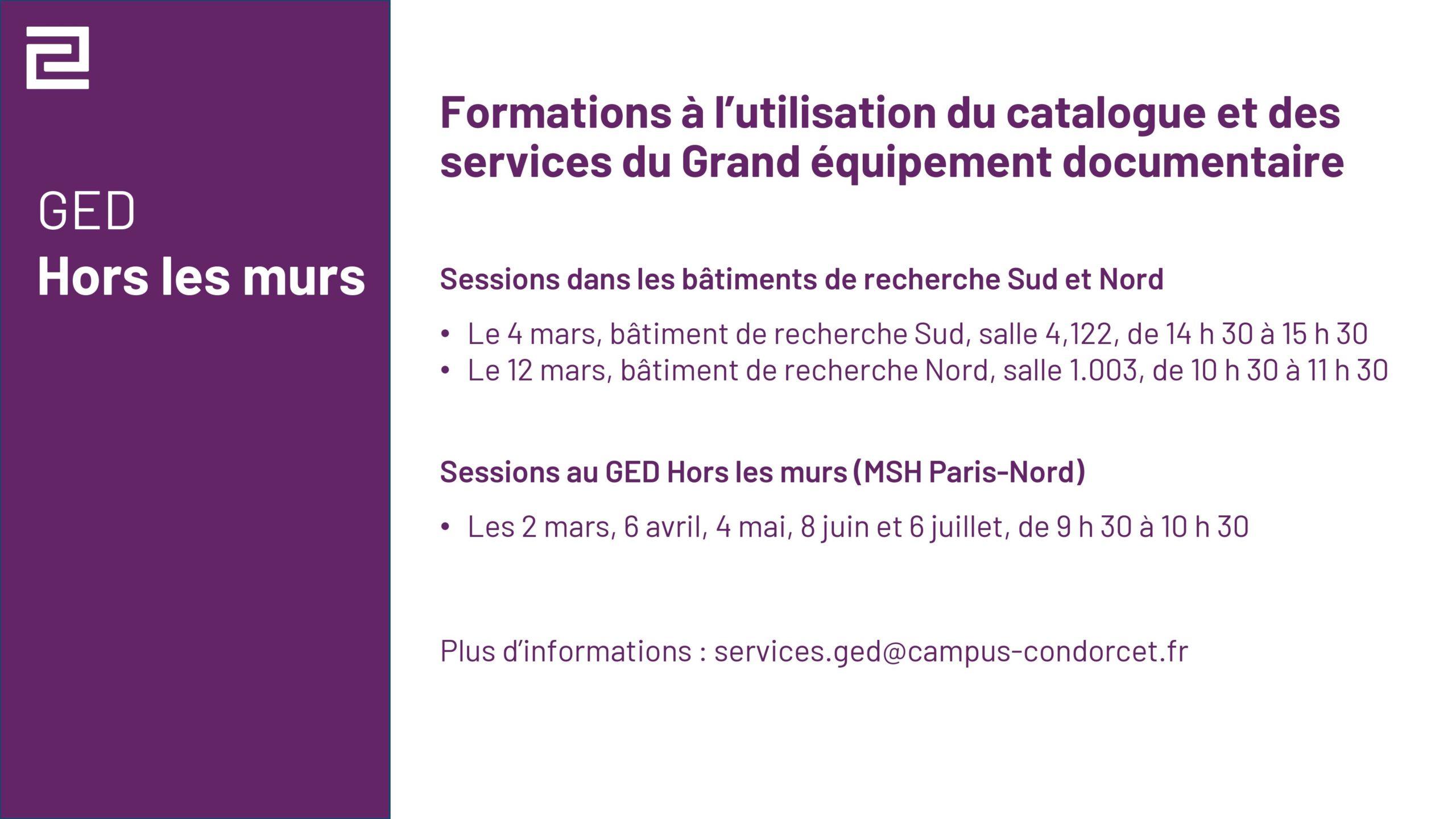 Annonce des formations à l'utilisation du catalogue et des services du GED